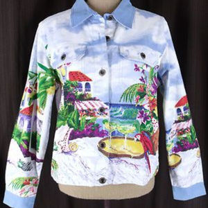 Boston Proper Multi-Color Beach Denim Jacket
